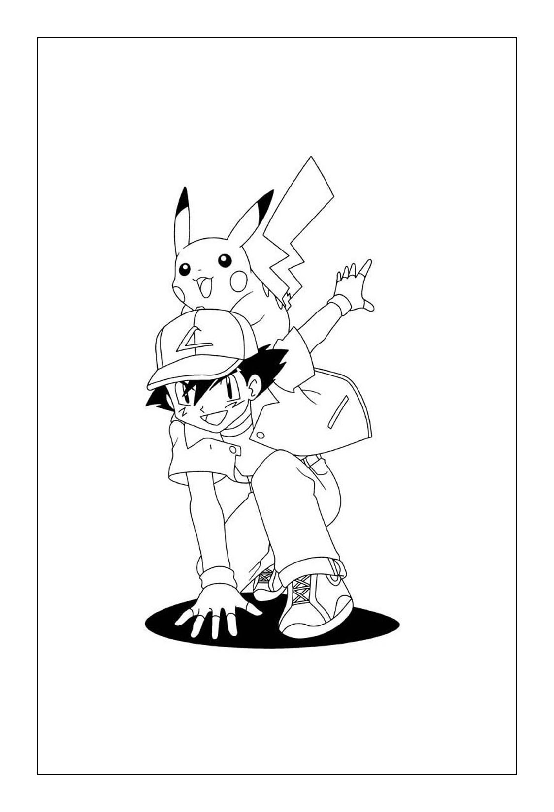 Free Pikachu Coloring Pages - Ash and Pikachu