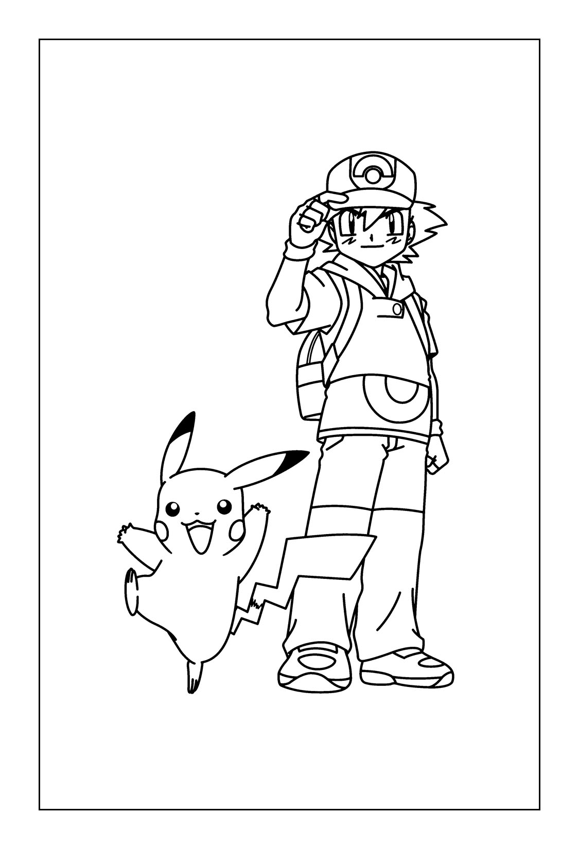 Free Printable Pikachu Coloring Pages - Ash and Pikachu