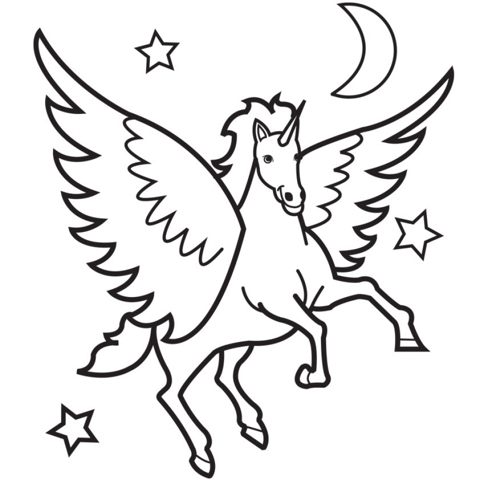 Free Unicorn Clipart for Coloring