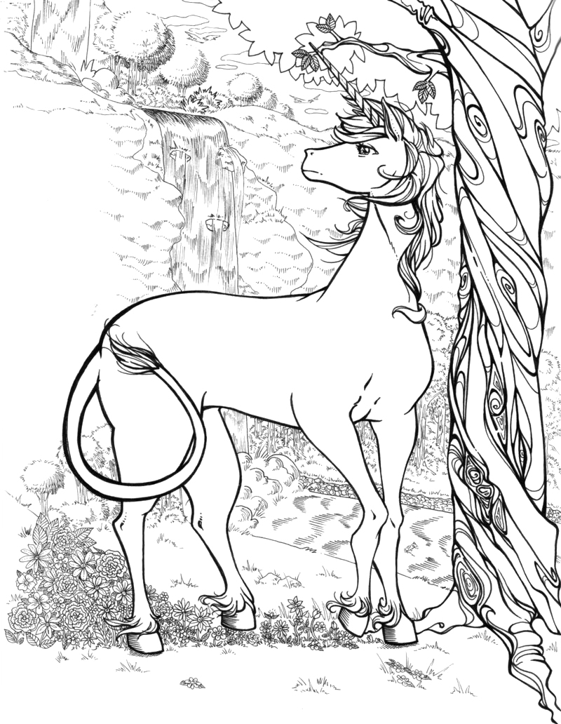 Unicorn Christmas Coloring Page Adult Color Book Art Fantasy ... | 1032x800