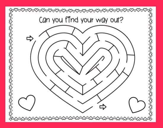 Free Valentines Day Maze Puzzle