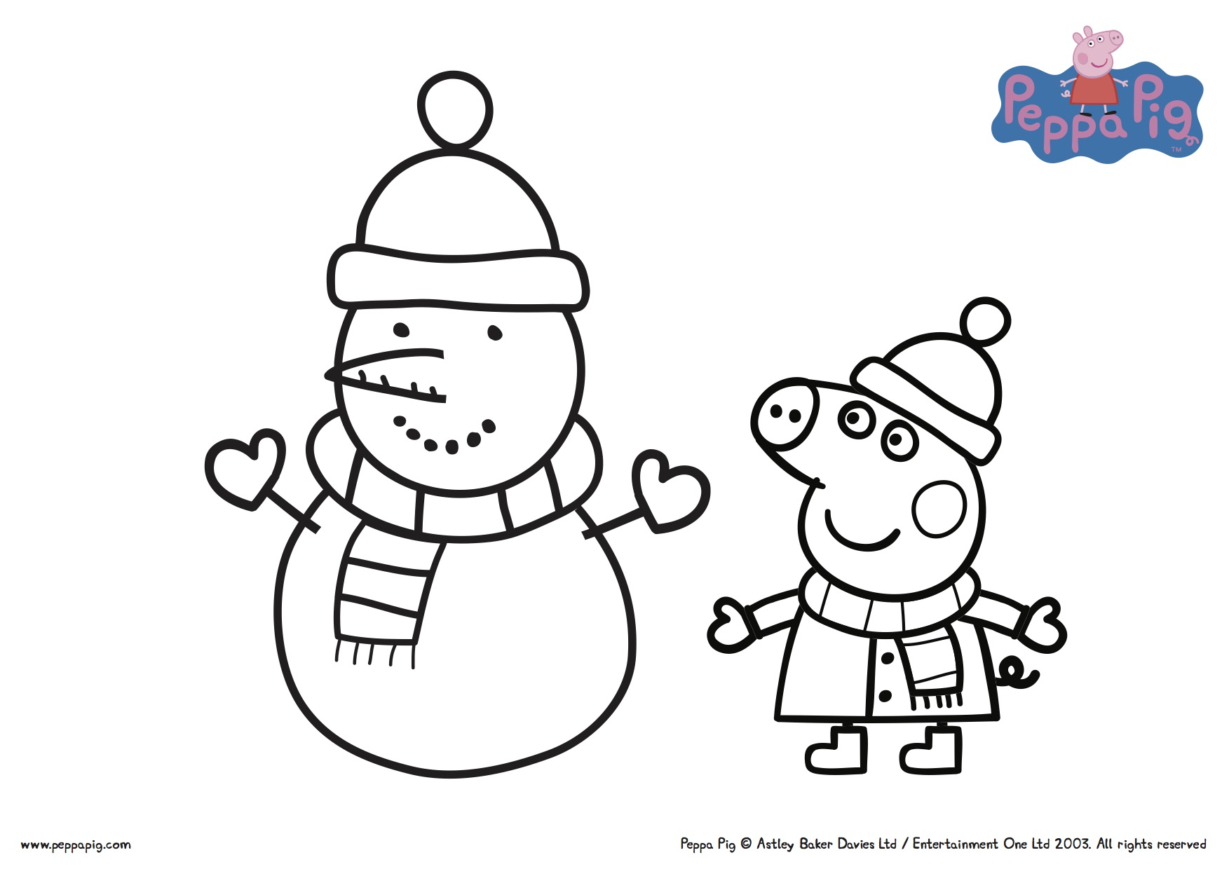Free Winter Peppa Pig Coloring Pictures
