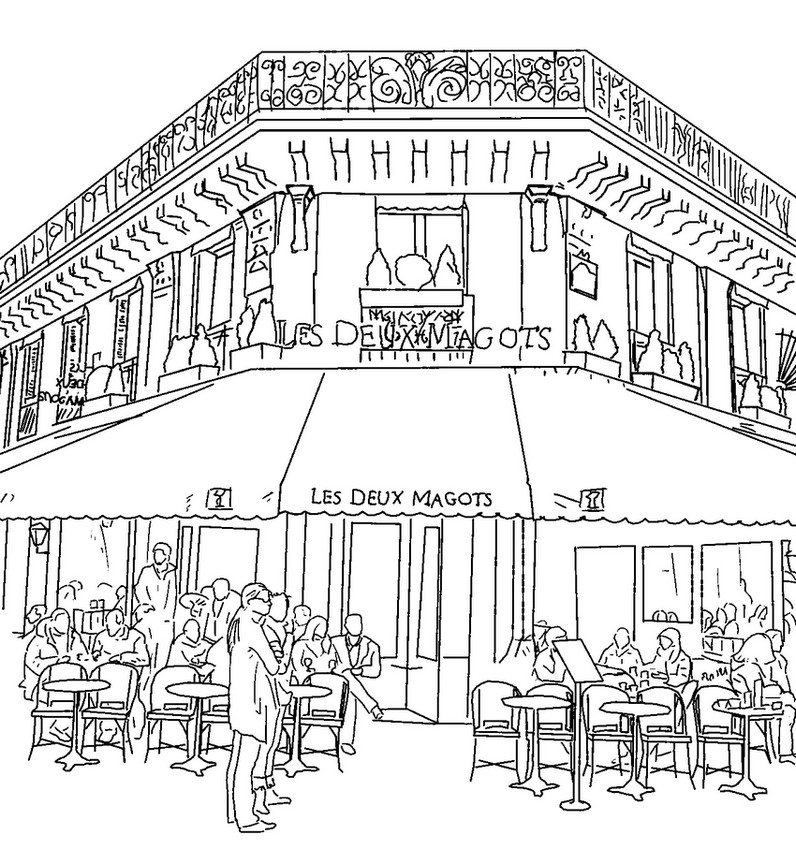 French Cafe Restaurant Coloring Pages
