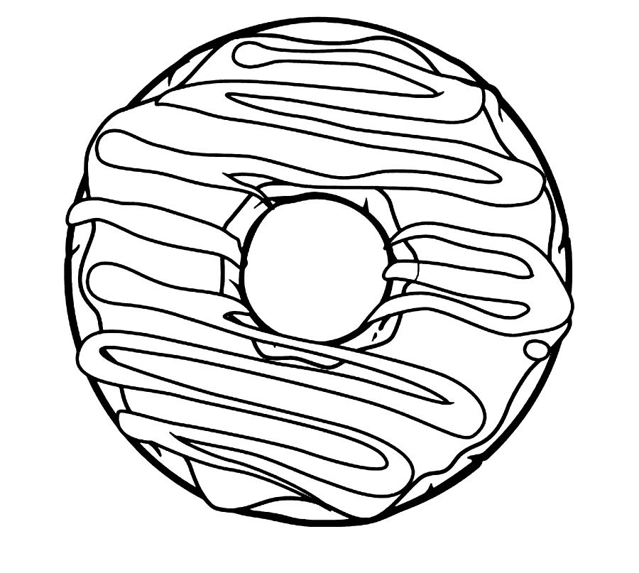 Frosted Donut Coloring Page