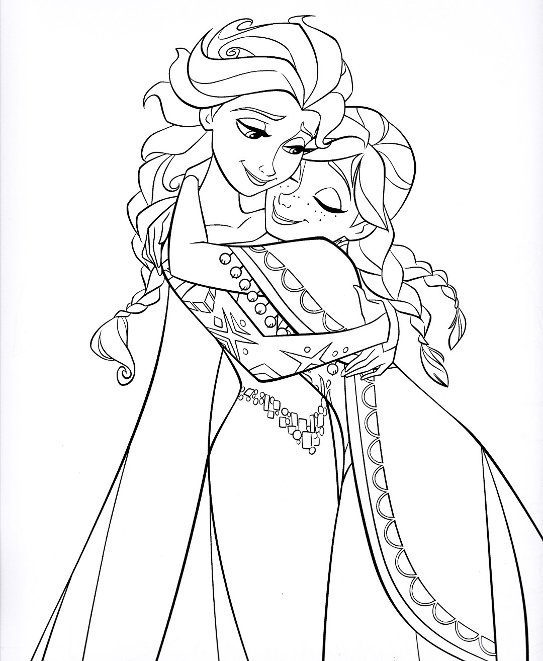 Frozen Elsa and Anna Disney Princess Coloring Page