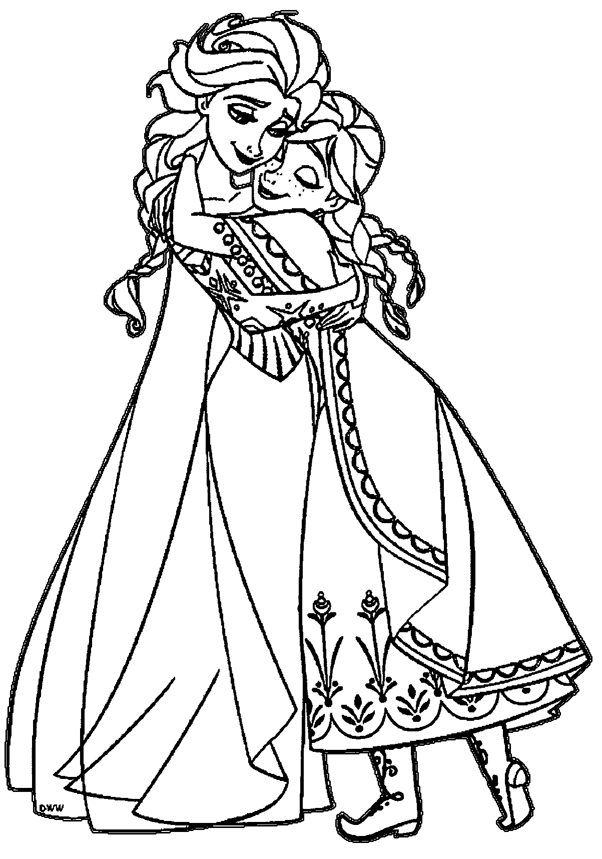 Frozen Elsa and Anna Hugging Coloring Page