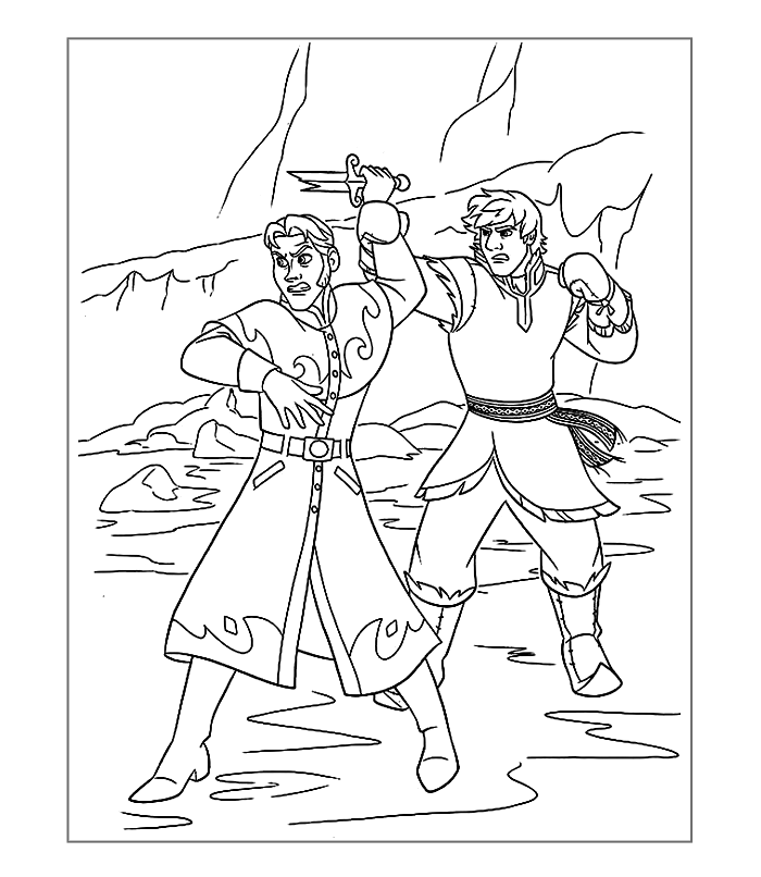 frozen-coloring-page-the-fight