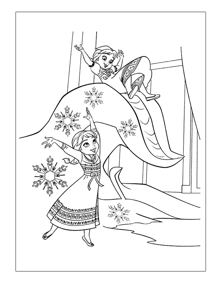 frozen-coloring-pages-elsa-and-anna-playing