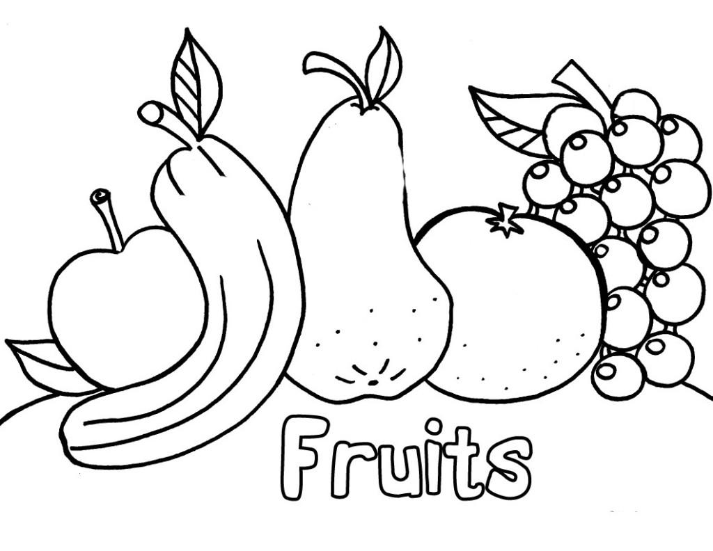 Fruit Coloring Page for Kindergarten
