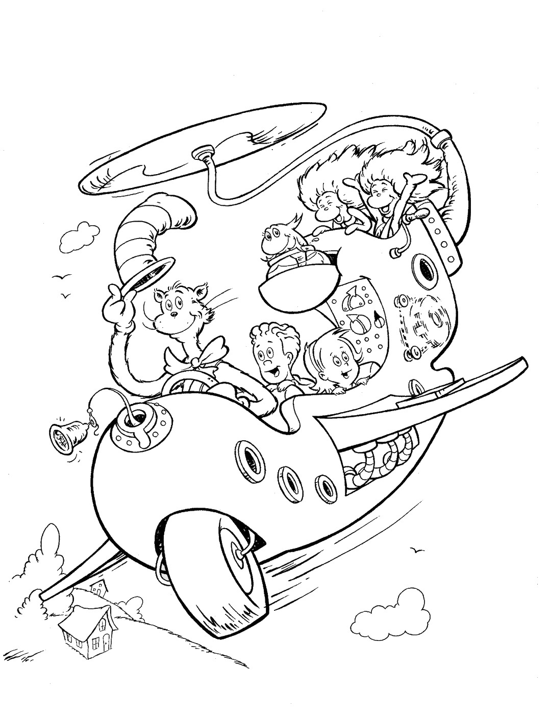 Fun Cat in the Hat Coloring Pictures
