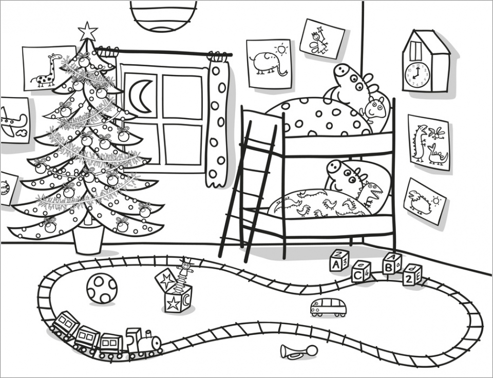 Fun Christmas Peppa Pig Coloring Pages