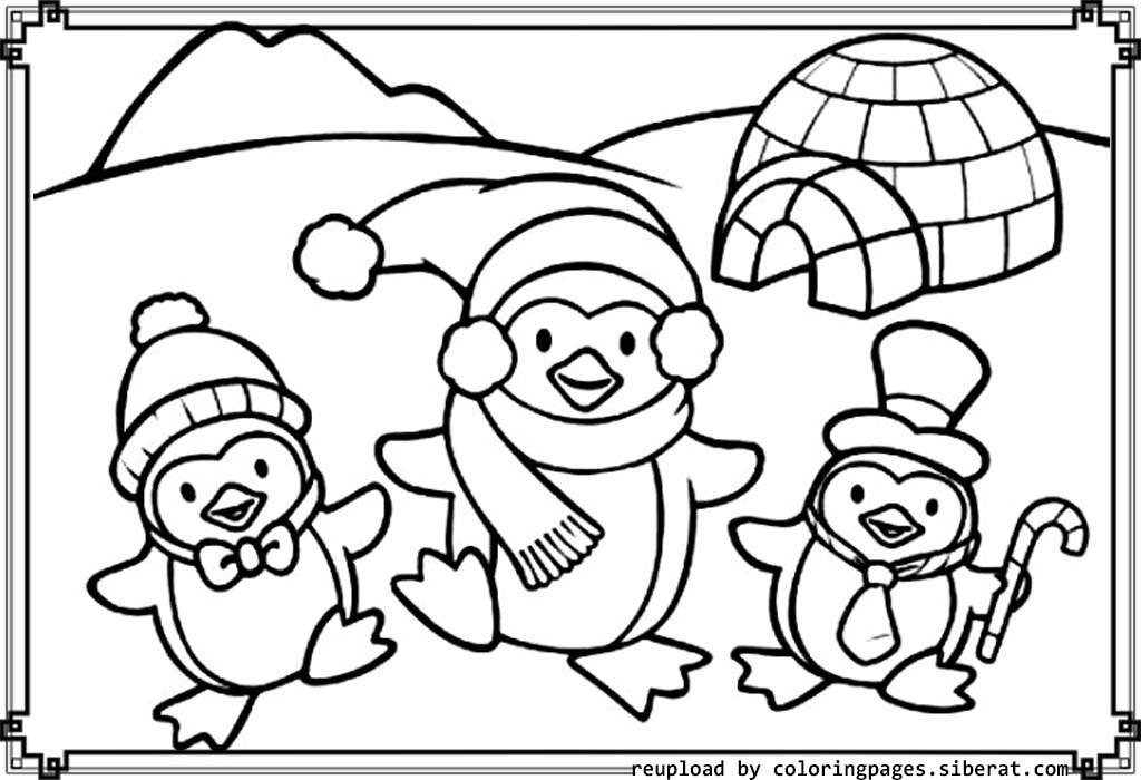 Fun Penguin Family Coloring Page