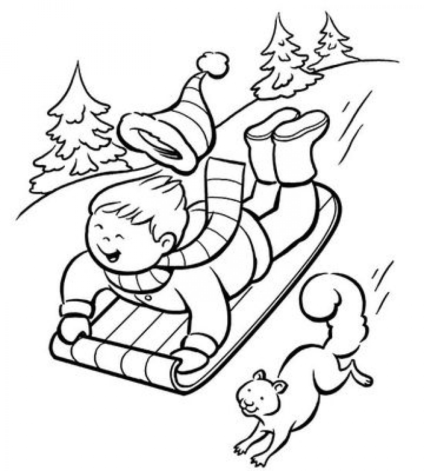Fun Sledding in Winter Coloring Page