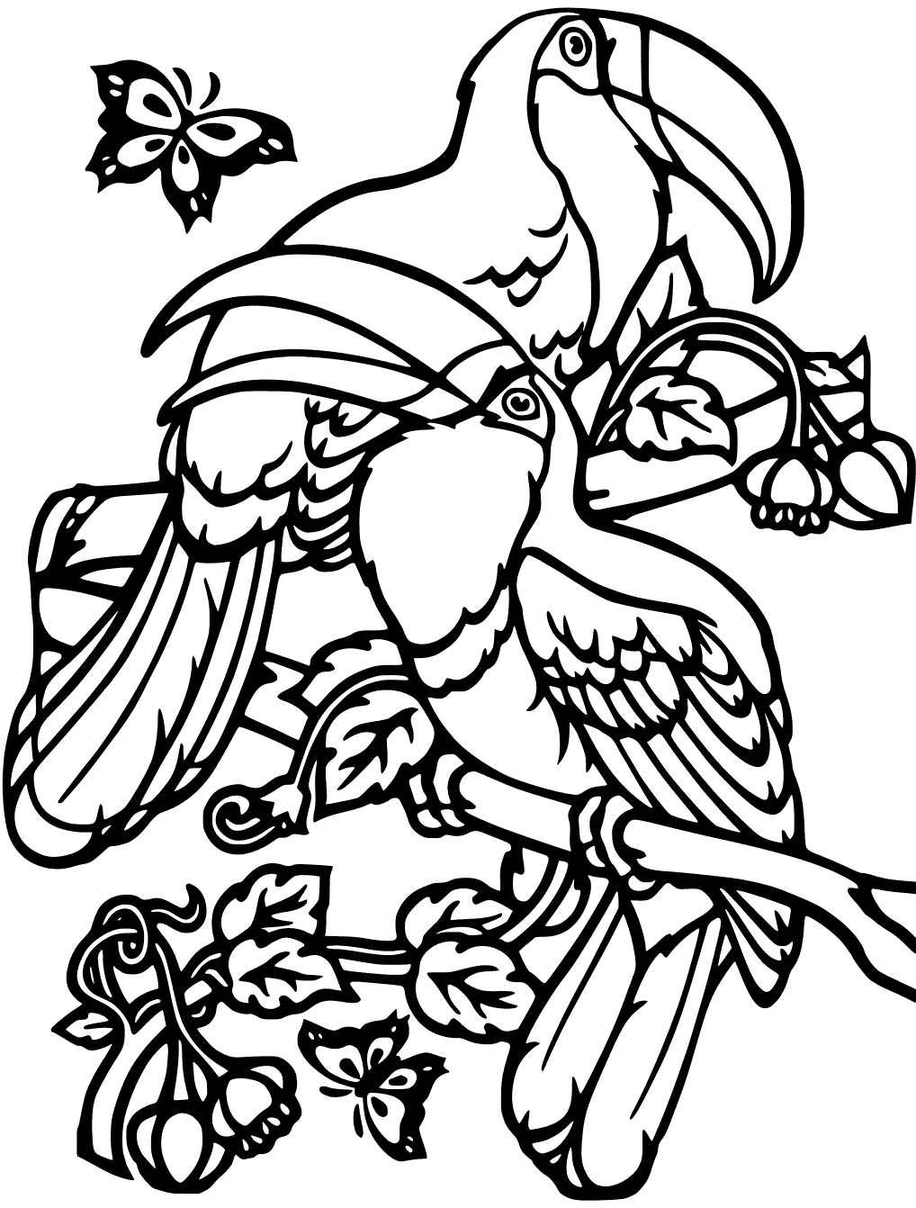 Fun Toucans Coloring Page