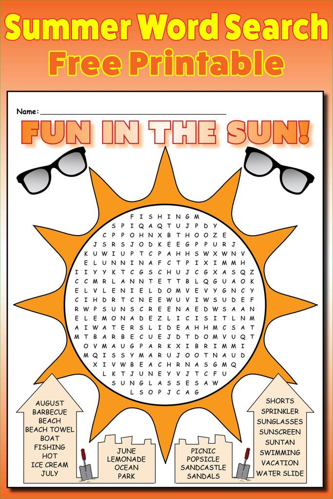 Fun in the Sun Word Search