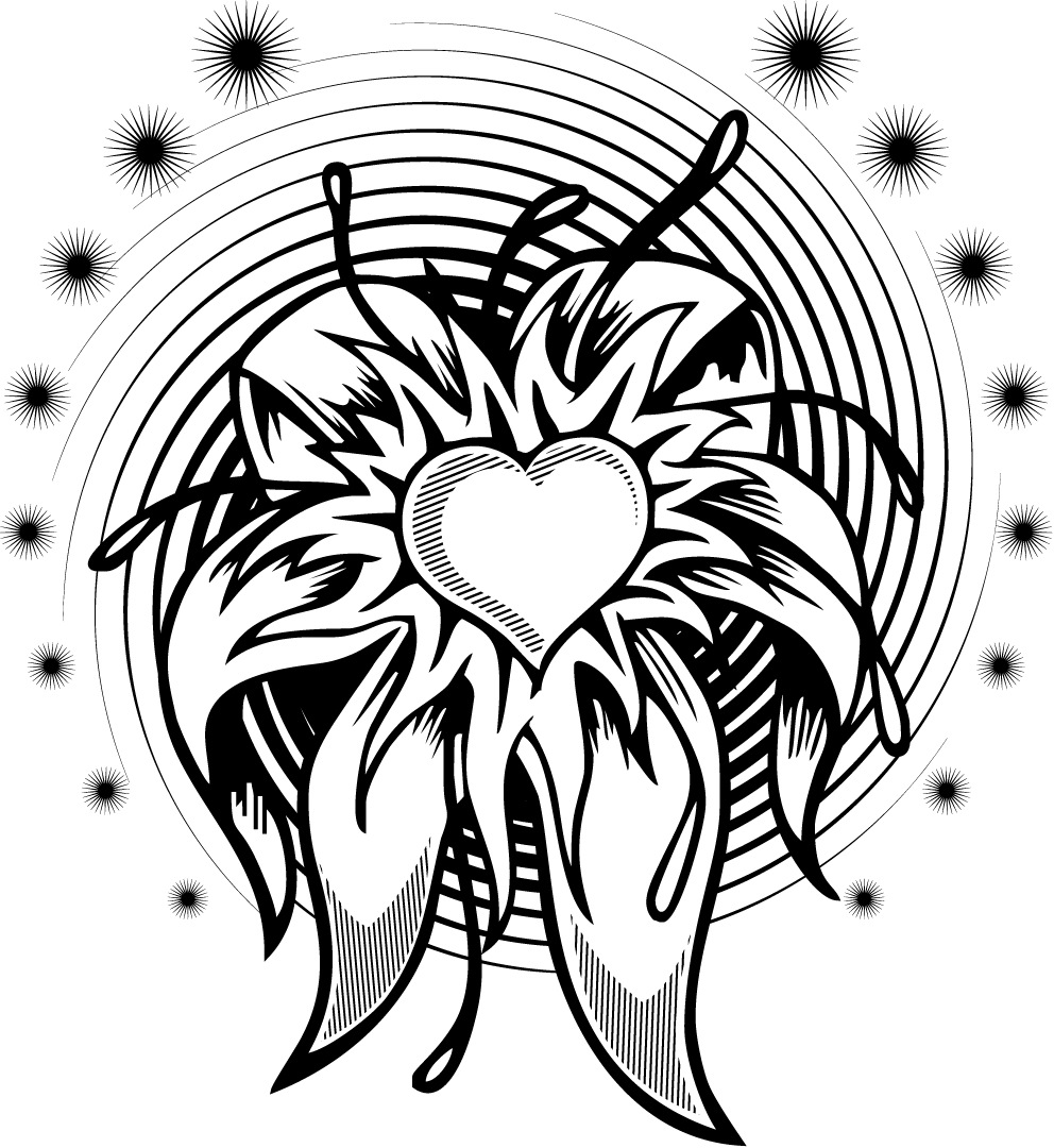 Funky Flower Heart Coloring Page