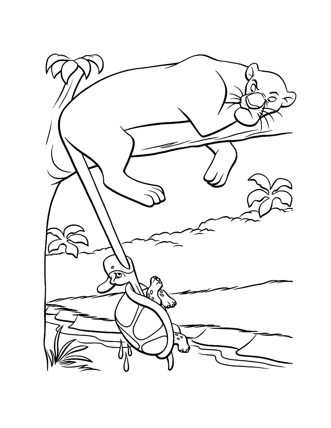 Funny Bagheera Junglebook Coloring Page