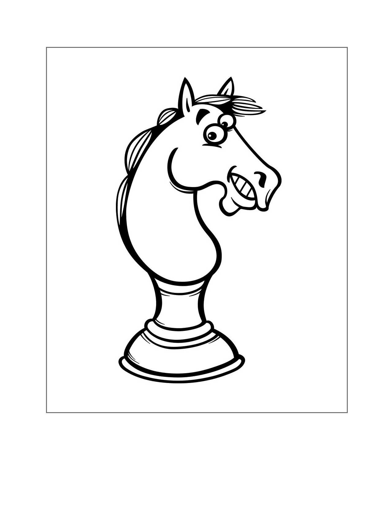 Funny Chess Knight Horse Coloring Page