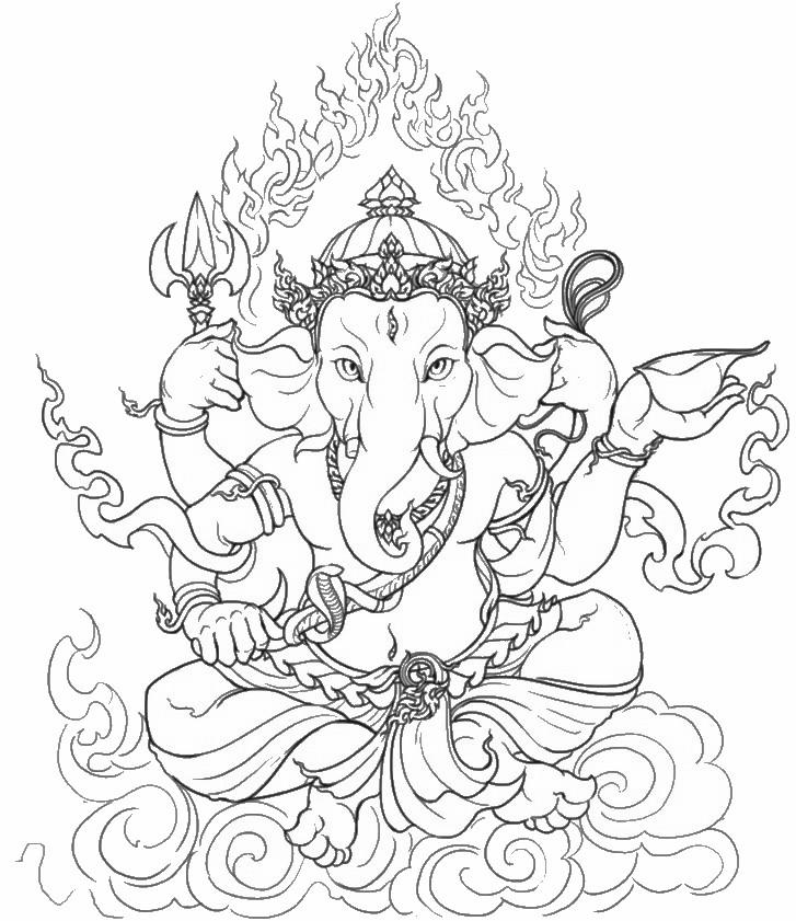 Ganesh Hindu Yoga Coloring Page