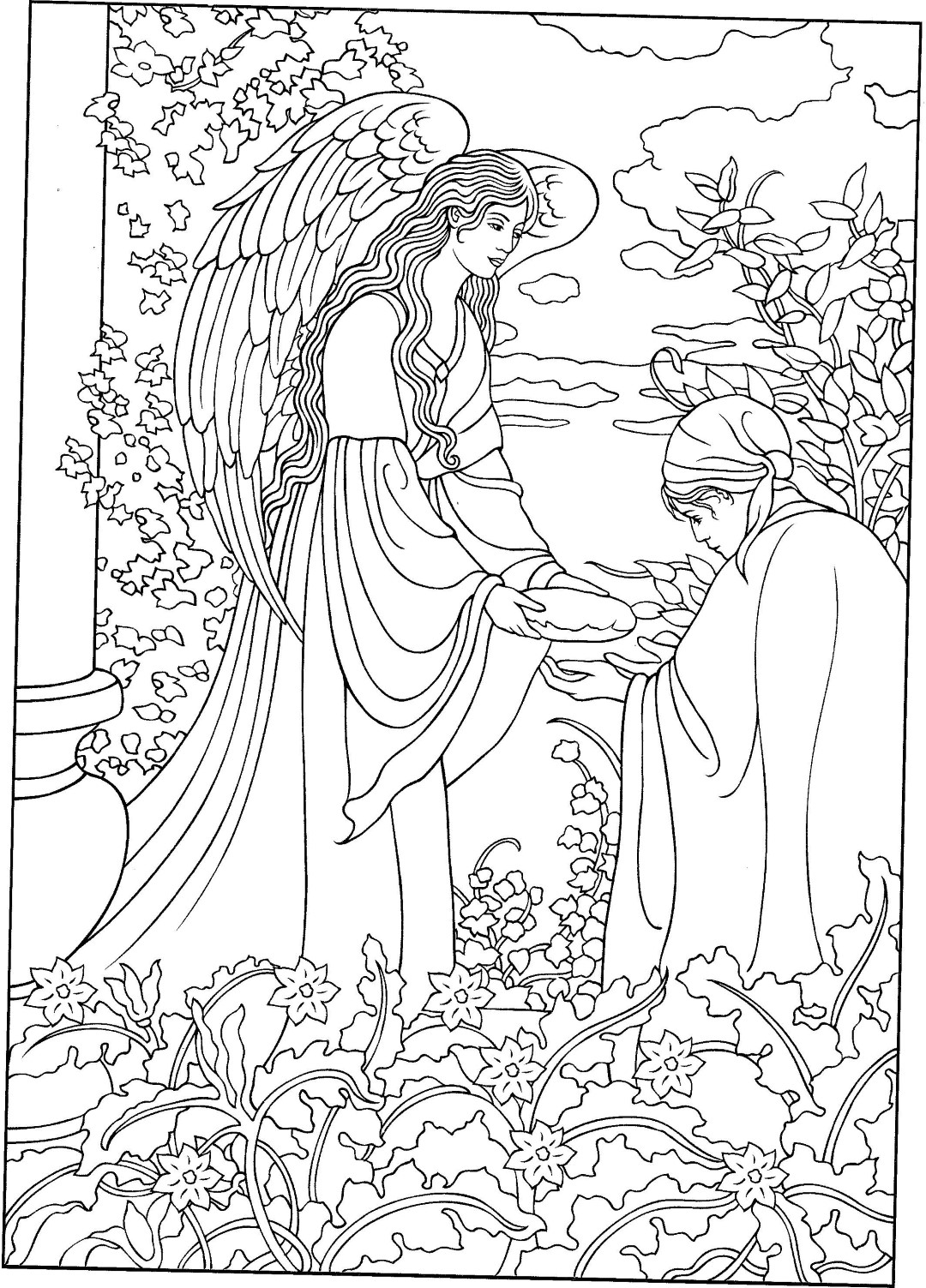 Garden Angel Coloring Pages