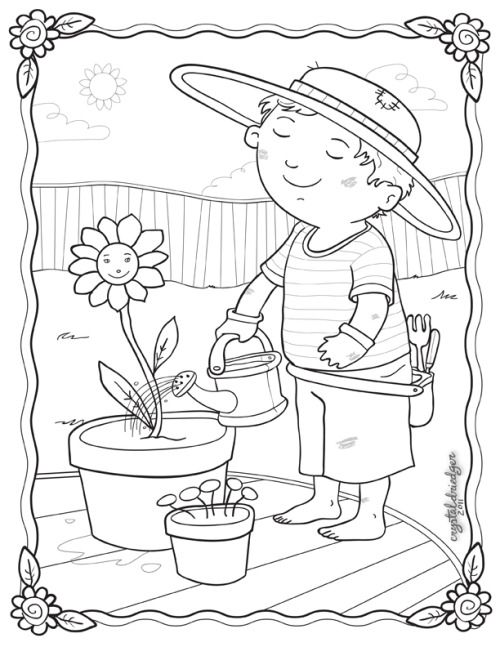 Gardening Coloring Small Card to Print
