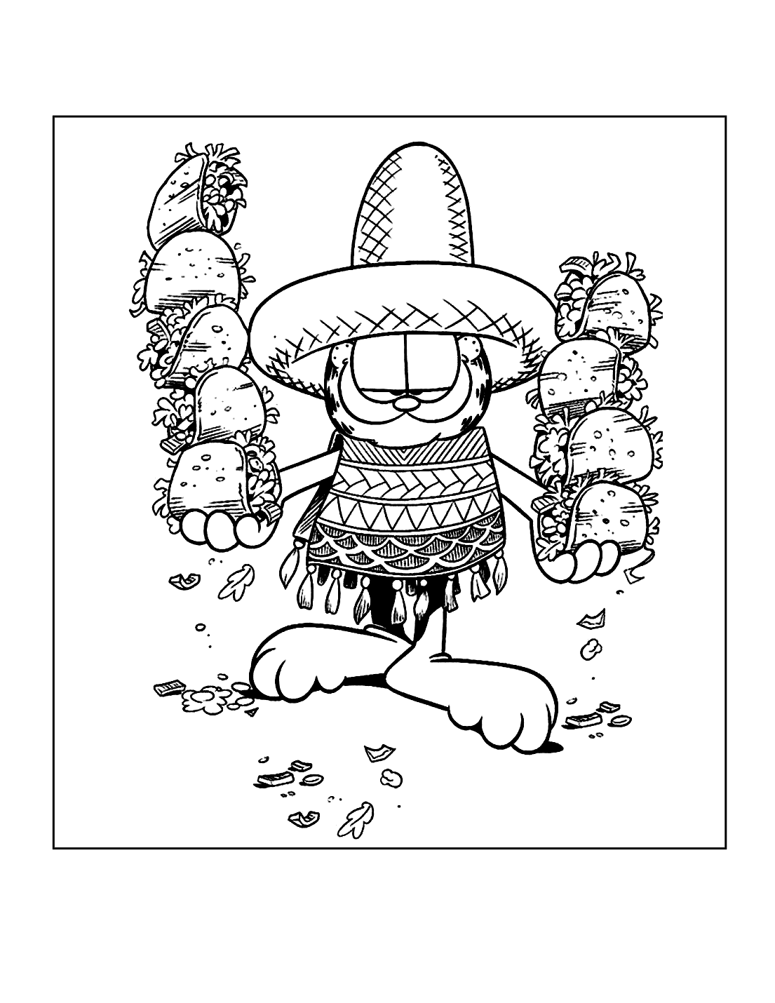 Garfield Taco Day Coloring Page