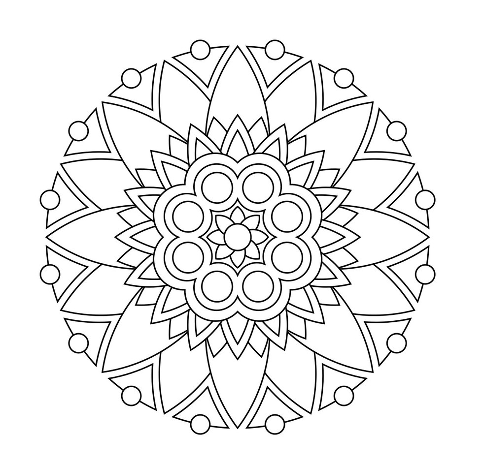 Geoflower Mandala Coloring Pages for Kids