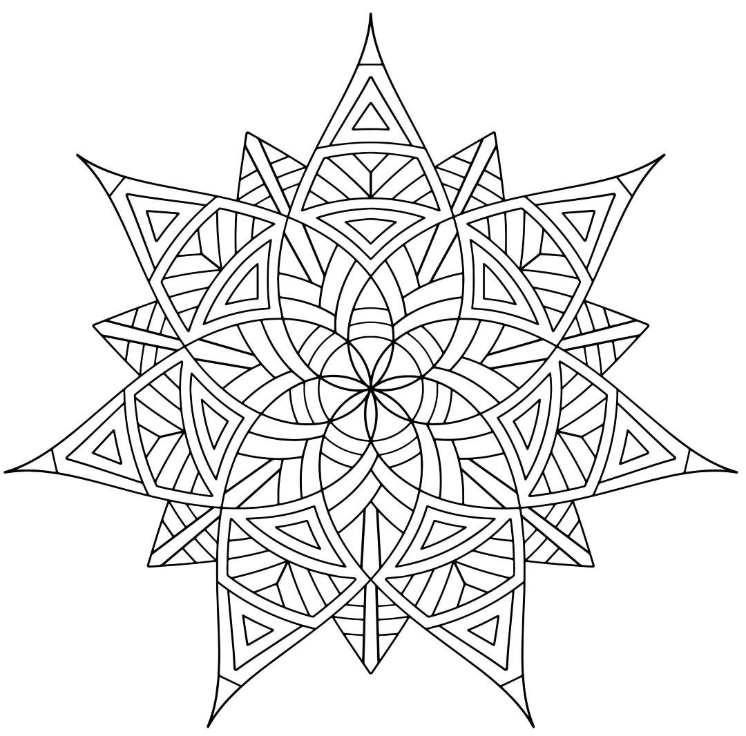 Geometric Flower Shape Mandala Coloring Page