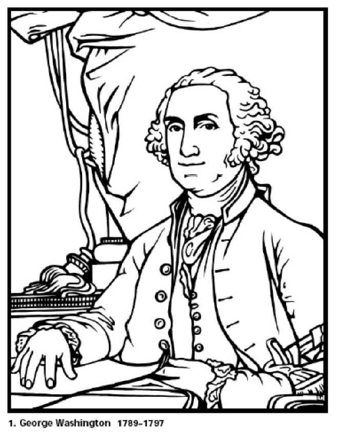 George Washington Presidents Day Coloring Sheet