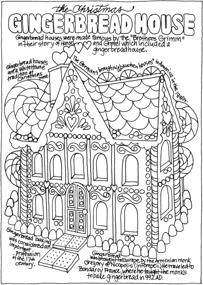 Christmas village and Santa Claus - Christmas Adult Coloring Pages | 910x650