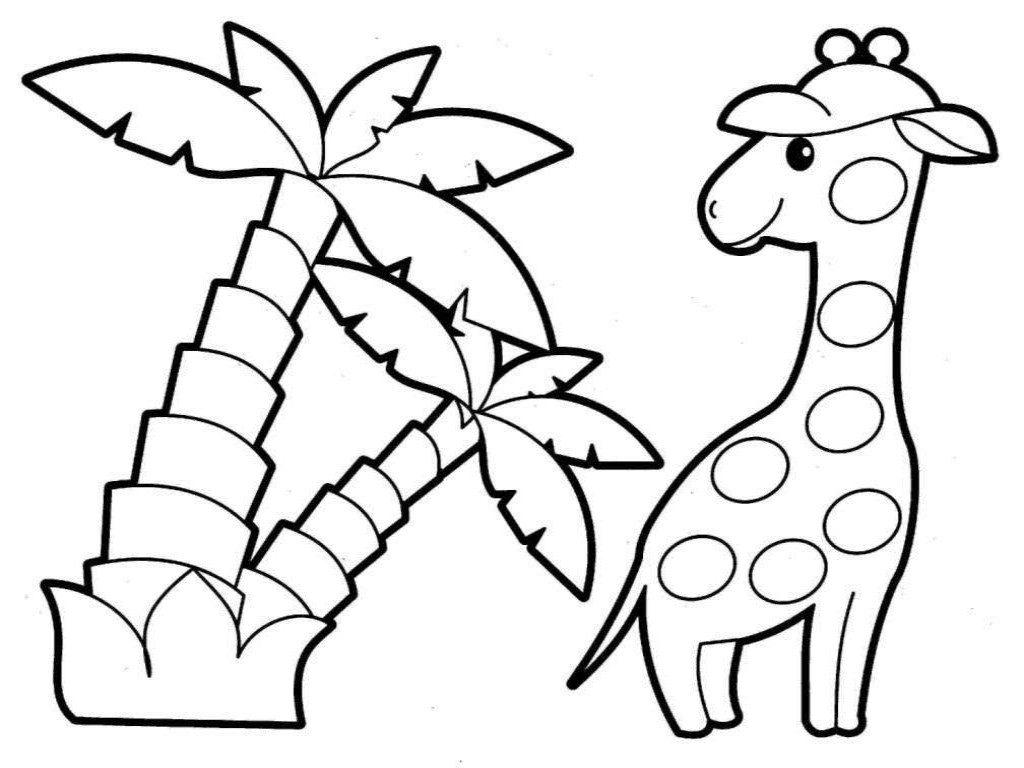 Giraffe Kindergarten Coloring Pages