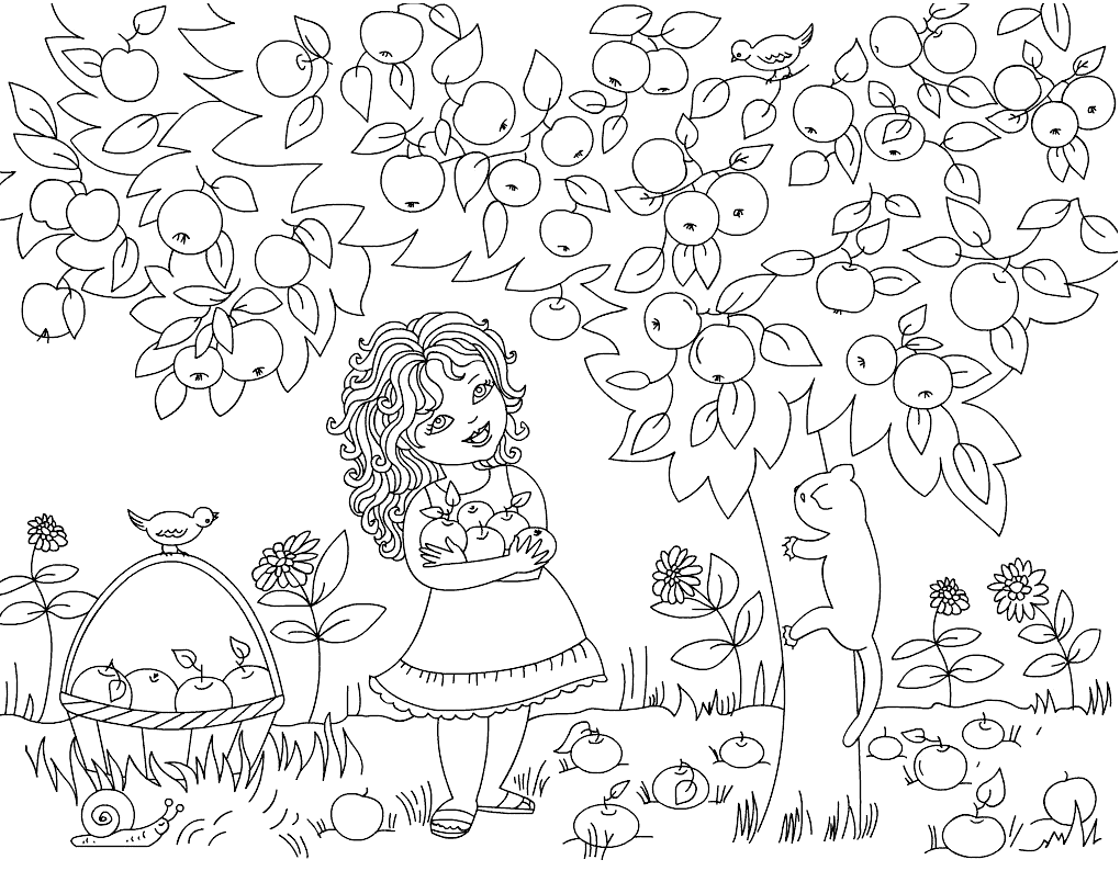 Girl Picking Apples from Tree Coloring Page