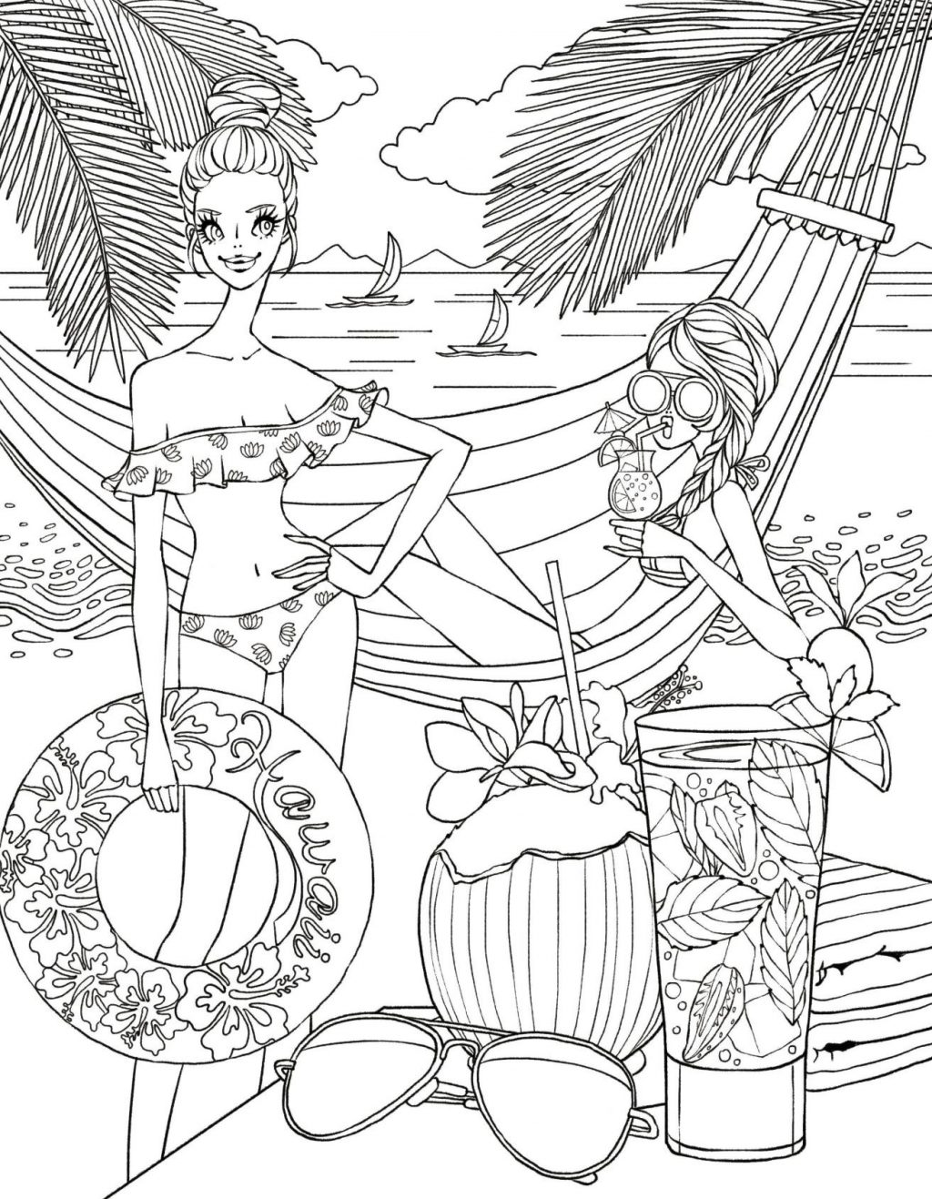 Girls at the Beach Coloring Page