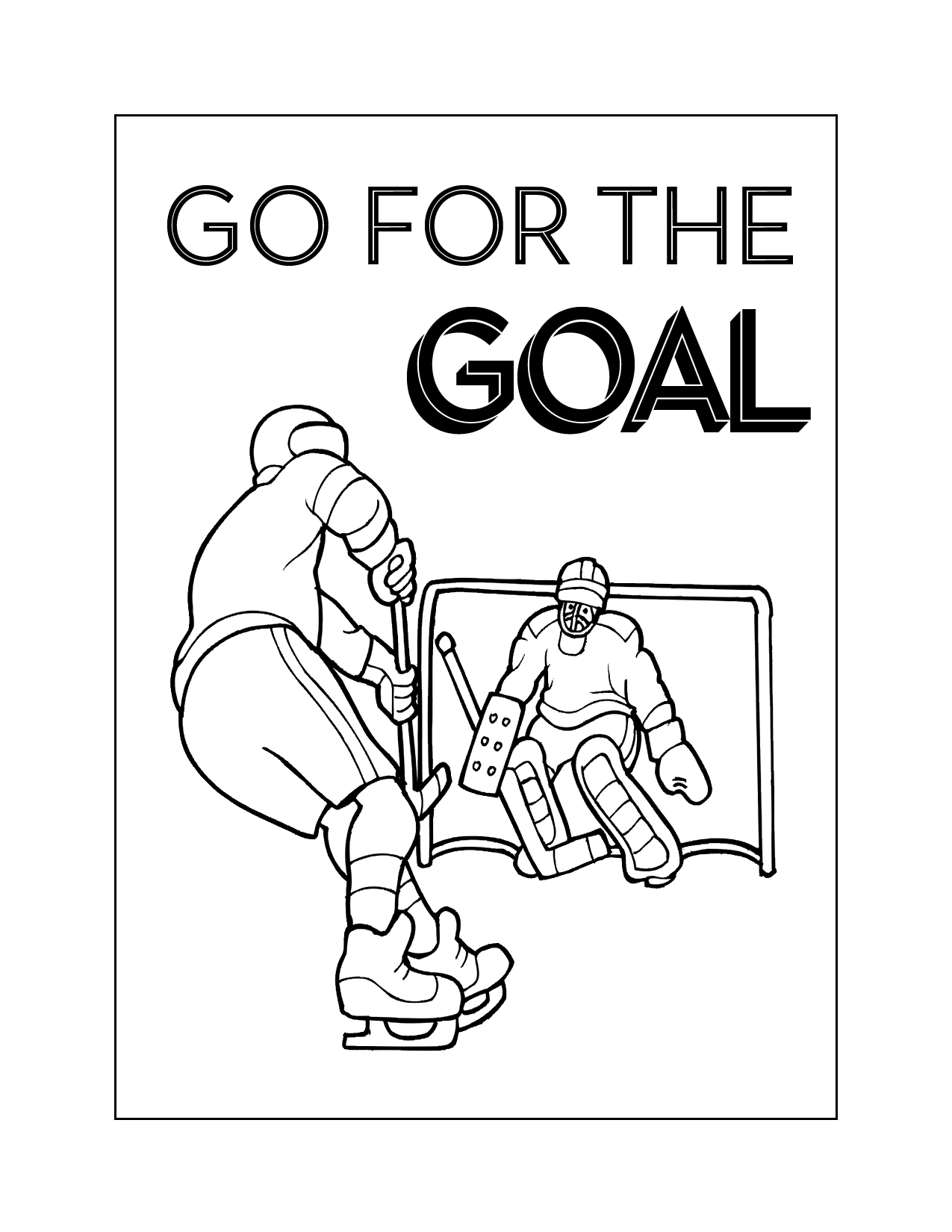 Go For The Goal Hockey Coloring Page