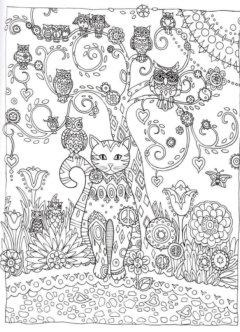 Gorgeous Cat Coloring Pages for Adults