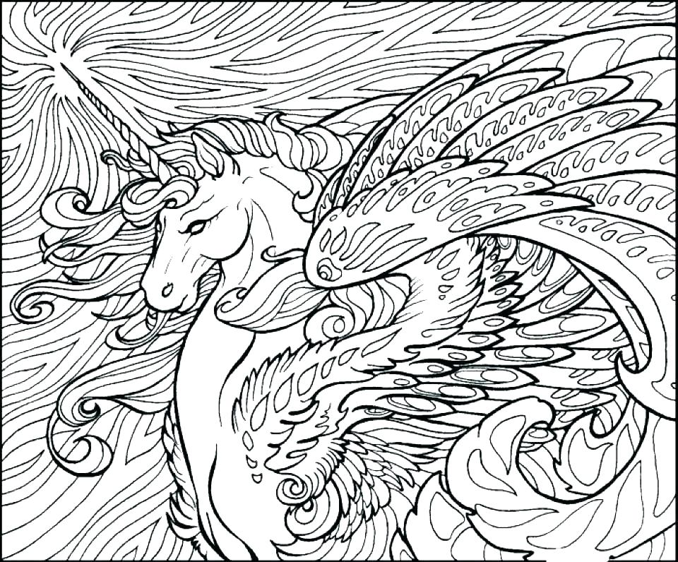 Gorgeous Fantasy Unicorn Picture for Adult Coloring