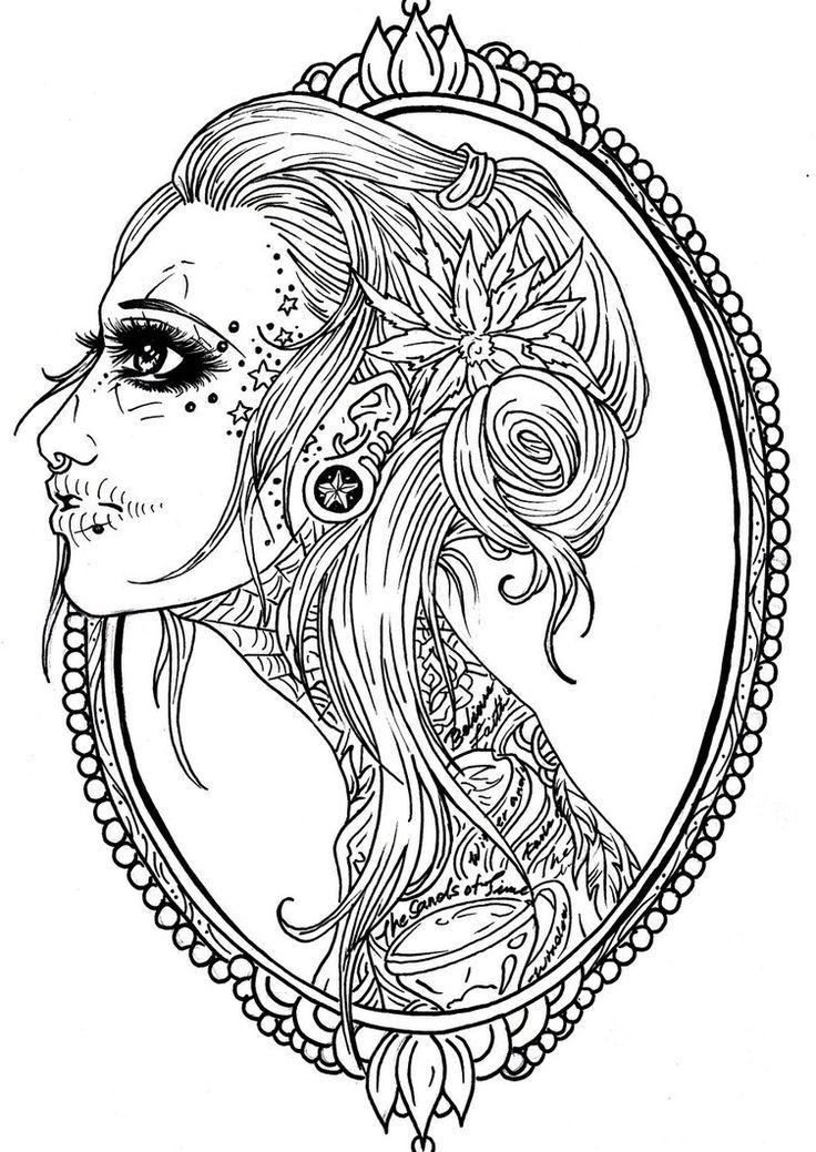 Gorgeous Sugar Skull Woman Coloring Page