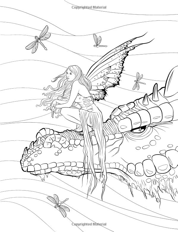 Gothic Fairy and Dragon Coloring Page