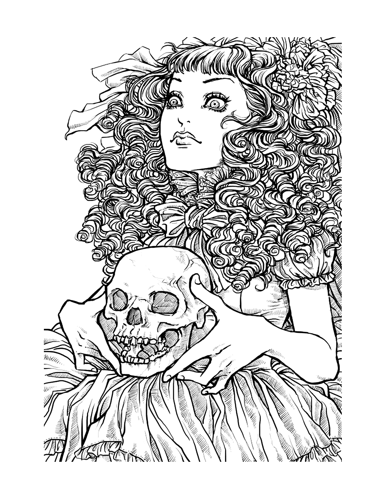 Gothic Halloween Girl With Skull Coloring Page