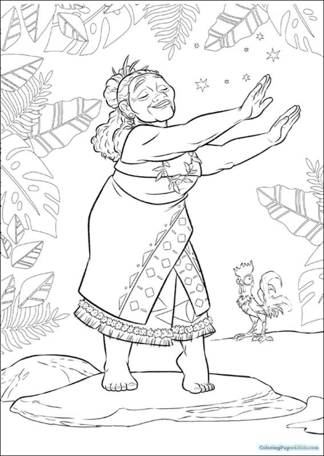 Gramma Tala Disneys Moana Coloring Pages