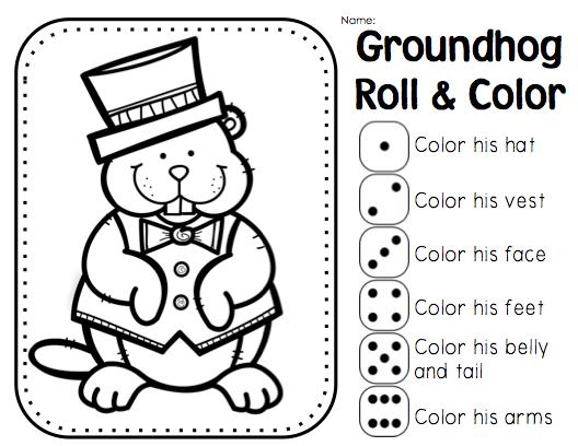 Groundhog Day Coloring Worksheets