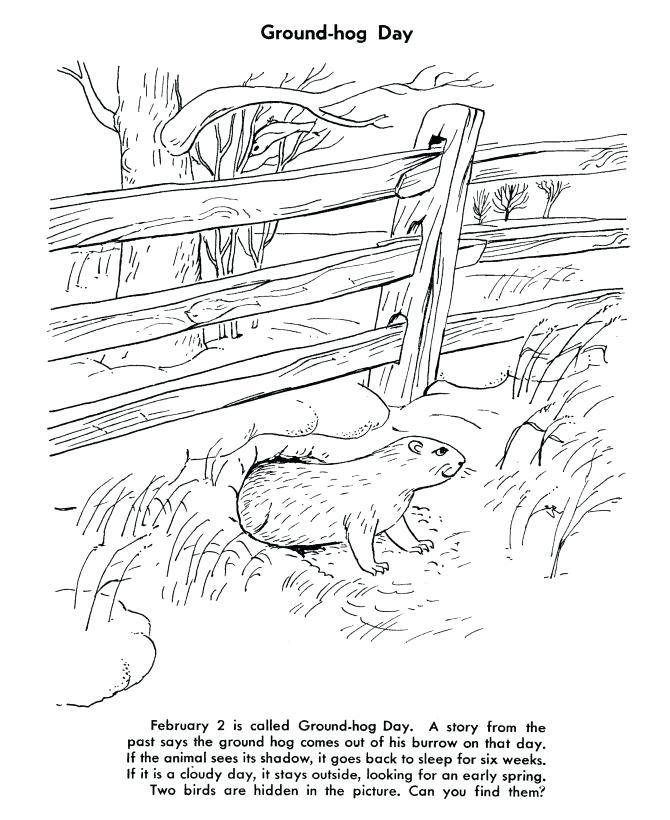 Groundhog Day Worksheet to Color