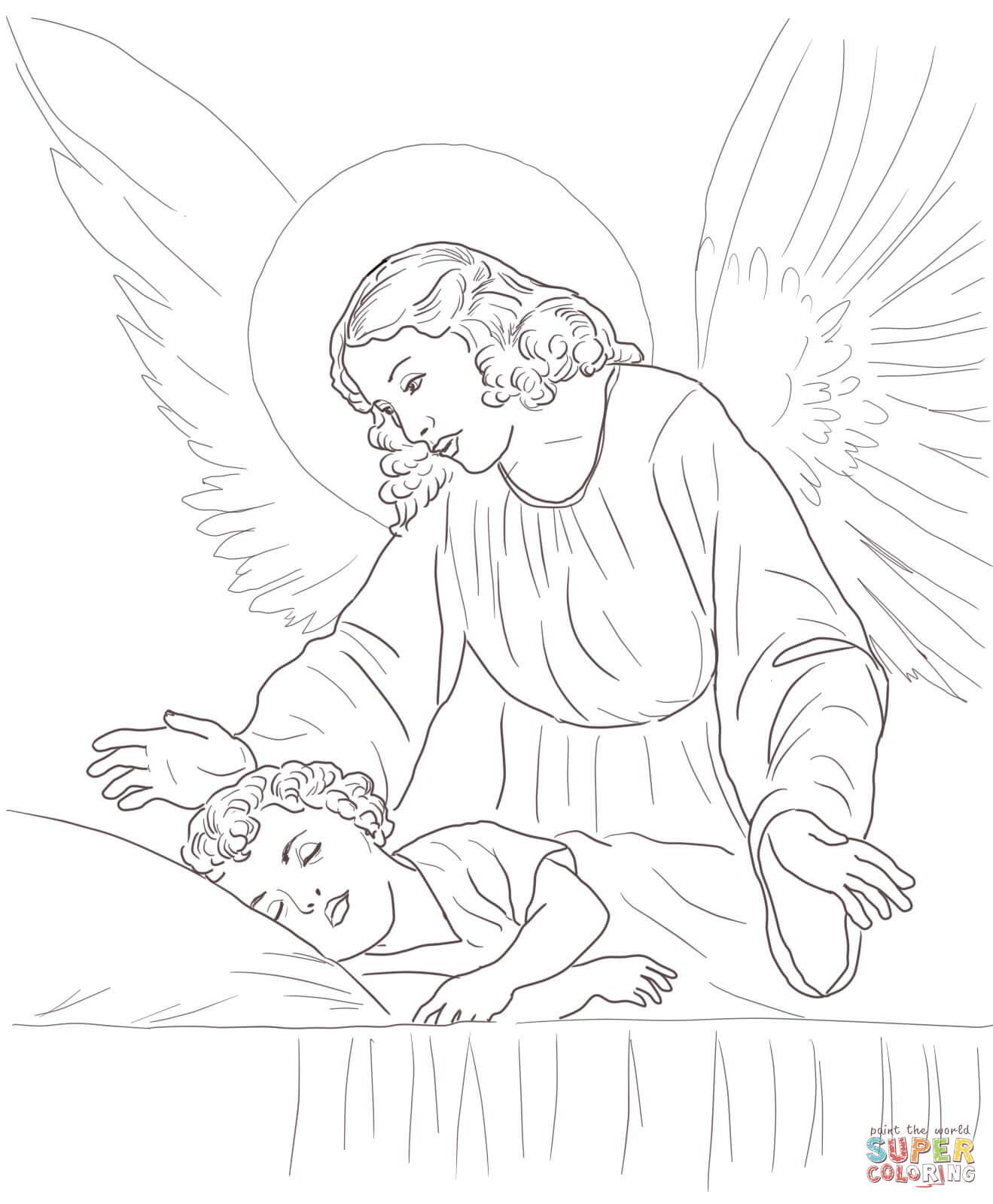 Guardian Angel Coloring Page Free