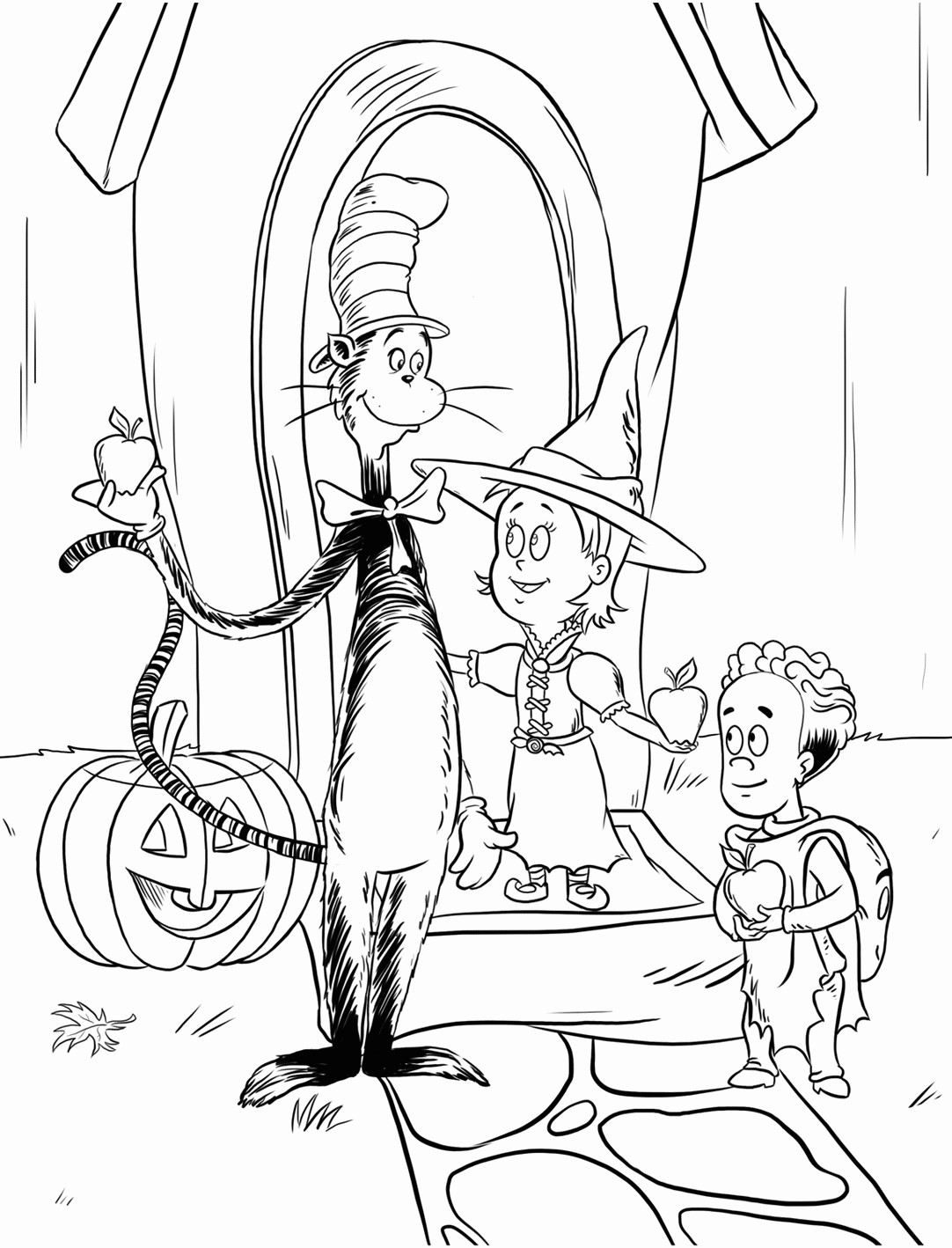 Halloween Cat in the Hat Coloring Pages