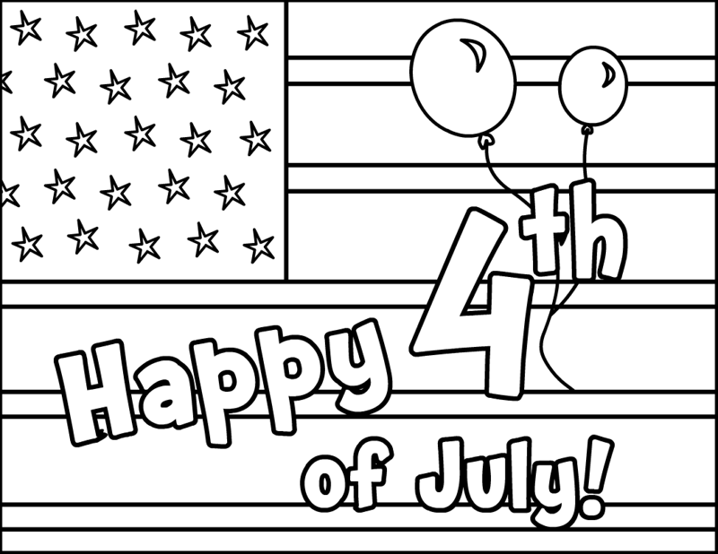 Happy 4th of July Flag Coloring Pages