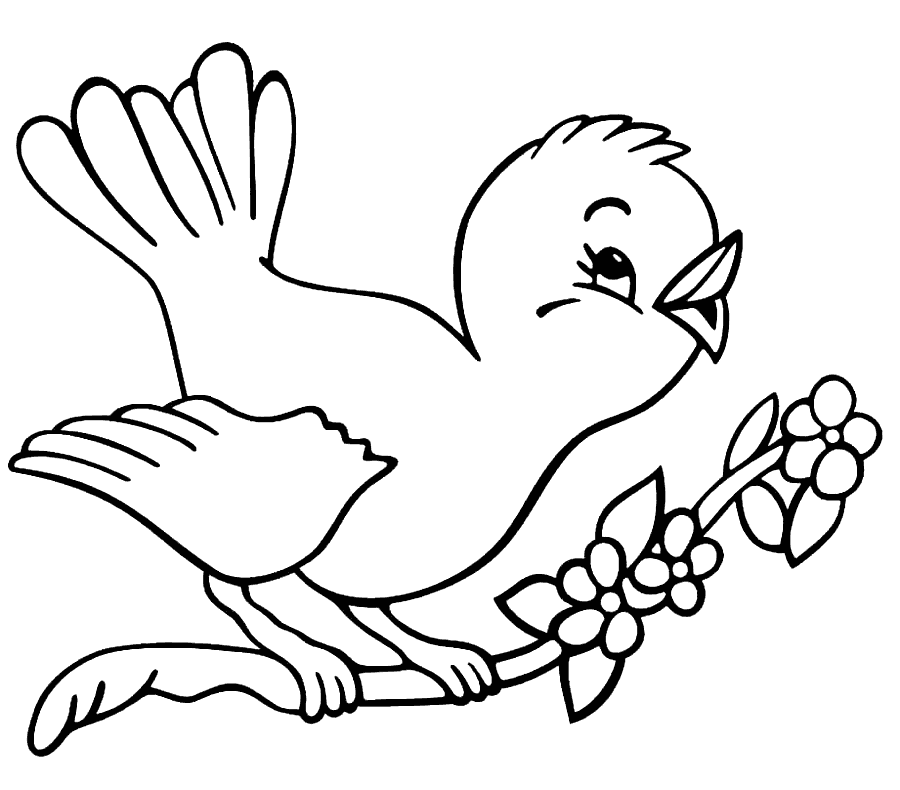 Happy Baby Bird Robin Coloring Pages