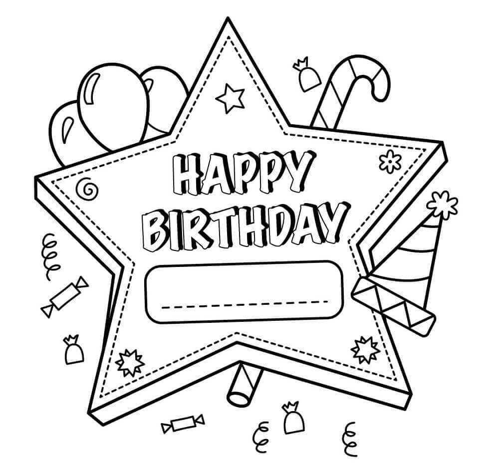 Birthday Card Coloring Page