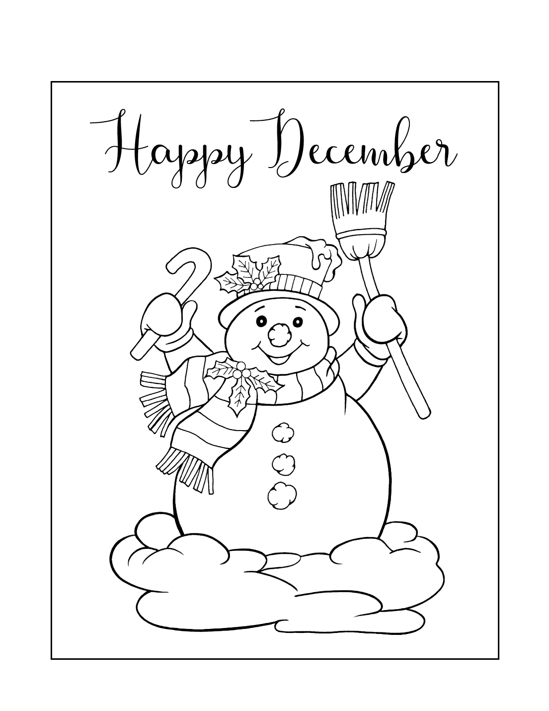 Happy December Snowman Coloring Page