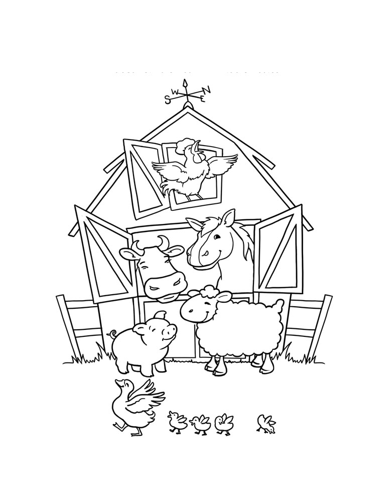 Farm Animals Coloring Pages For Preschool Worksheet Printable ... | 1000x773