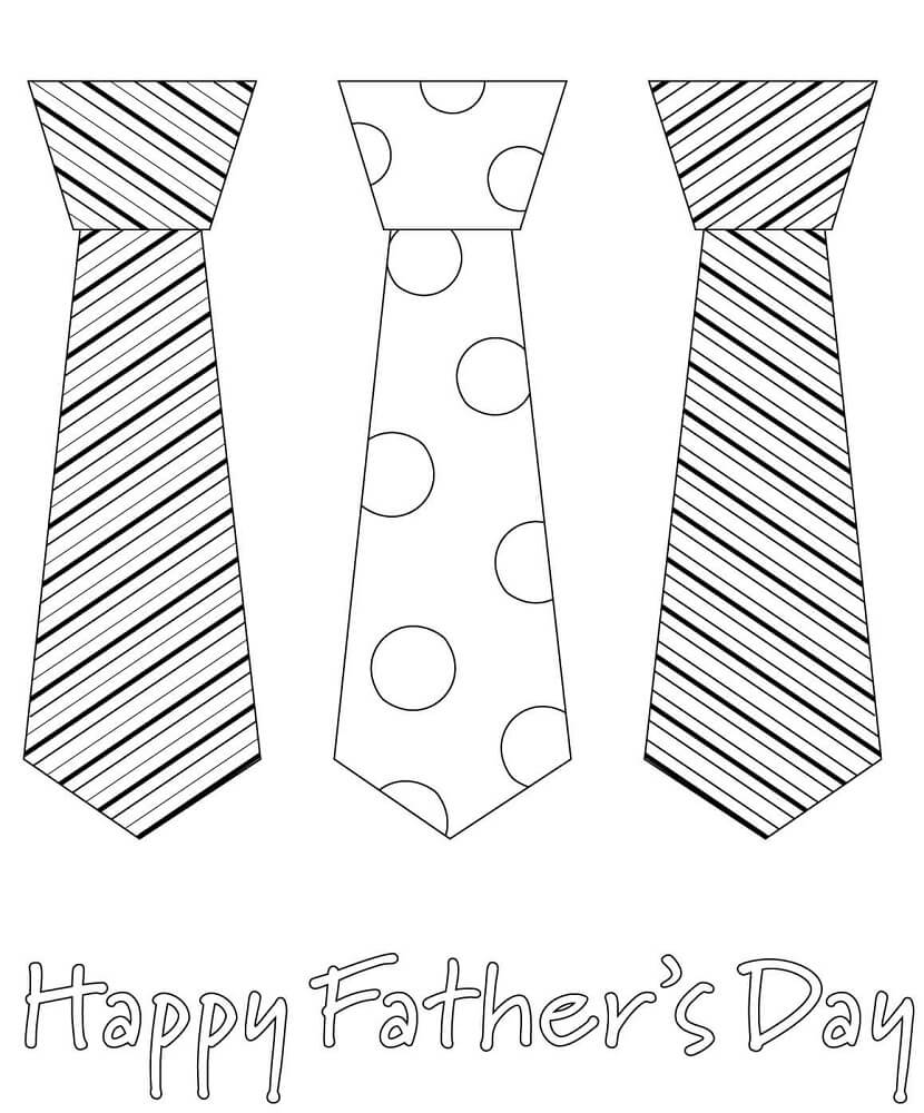 Happy Fathers Day Ties Print and Color